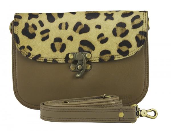 Handtasche Ledertasche Damentasche Umhängetasche Leo Optik Sunsa braun 23 x 17 x 12 cm